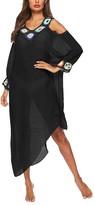 Look Fashion Women's Swimsuit Coverups Black - Black Crochet-Accent Cutout-Shoulder Long-Sleeve Cover-Up