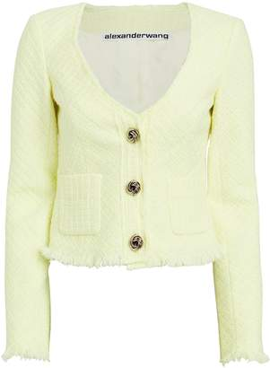 Alexander Wang Frayed Tweed Cropped Cardigan