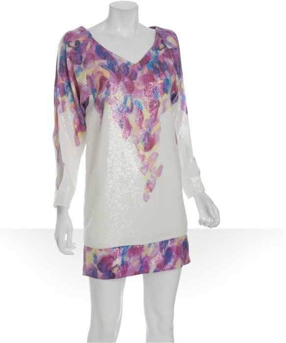Diane von Furstenberg white sequin floral 'Orchid' dress