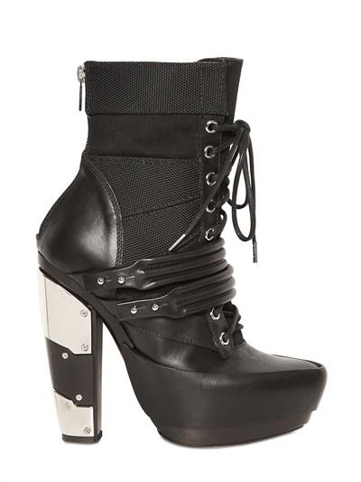Rodarte 120mm Mirrored Heel Leather Combat Boots