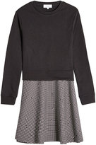 Carven Dress with Cotton Sweatshirt and Printed Skirt