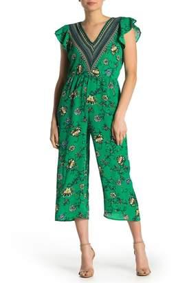 Just For Wraps Floral Flutter Sleeve Jumpsuit