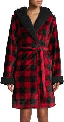 Emily And Jane Tartan Love Faux Shearling-Lined Hooded Robe