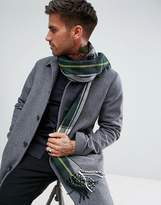 New Look Woven Check Scarf In Green