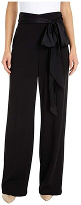 Adrianna Papell Crepe Satin Bow Pants (Black) Women's Casual Pants