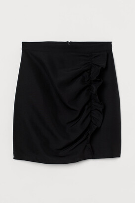 H&M Flounce-trimmed Skirt - Black