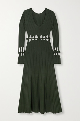 Dion Lee Radiance Cutout Ribbed Stretch-knit Maxi Dress - Dark green