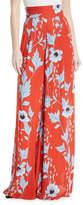 Johanna Ortiz Land of Rivers High-Waist Wide-Leg Garden-Print Silk Pants