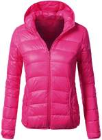 DRESSIS Women's Lightweight Packable Rayon Puffy Jacket HOTPINK L