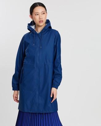 Rains Women's Blue Coats - Long W Jacket - Size One Size, XXS/XS at The Iconic