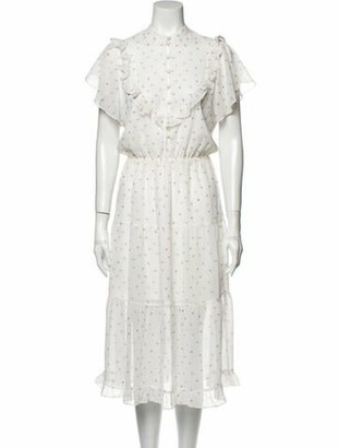 For Love & Lemons Floral Print Midi Length Dress White