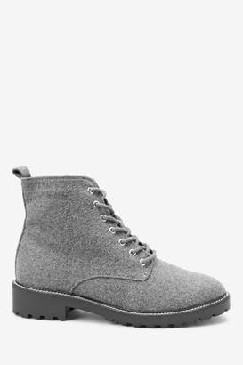 Next Womens Grey Forever Comfort Cleat Sole Lace-Up Ankle Boots - Grey
