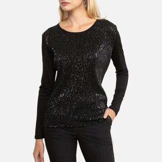 Anne Weyburn Sparkly Crew-Neck T-Shirt with Long Sleeves