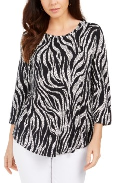 JM Collection 3/4-Sleeve Wavy Dream Top, Created for Macy's