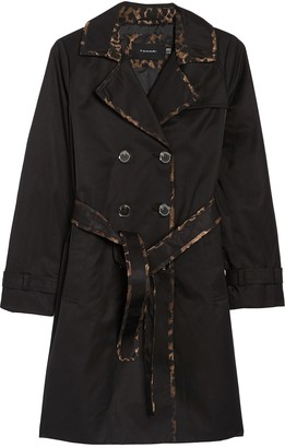 Tahari Contrast Trim Double Breasted Trench Coat