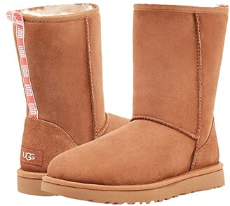UGG Classic Short II Graphic Logo (Chestnut/Neon Coral) Women's Shoes