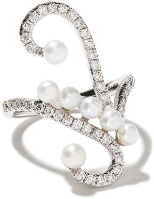 As 29 AS29 18kt white gold Lucy pearl and diamond knuckle ring