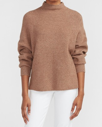 Express Ribbed Mock Neck Dolman Sleeve Sweater