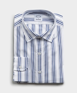 Hamilton Made in the USA + Todd Snyder Multitrack Stripe Shirt in Blue