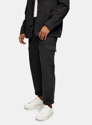 Topman CONSIDERED Charcoal Grey Wide Leg Cargo Trousers