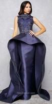 Mac Duggal High Neck Beaded Mikado Peplum Evening Gown