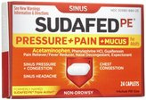 Sudafed Pe PRESSURE+PAIN+MUCUS Non-Drowsy Caplets-24 count