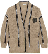 Brunello Cucinelli Embellished Striped Stretch Wool-blend Cardigan - Beige