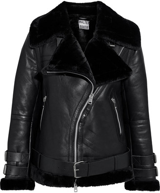 Walter Baker Whitney Faux Fur-trimmed Leather Biker Jacket
