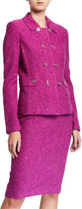 St. John Belle Du Jour Double Breasted Jacket with Martingale Belt