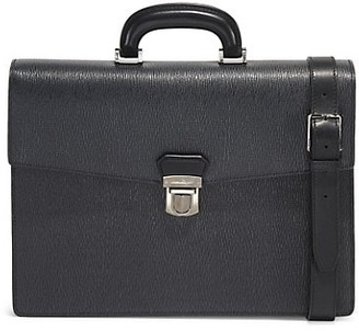 Salvatore Ferragamo Revial Single Gusset Belted Leather Briefcase