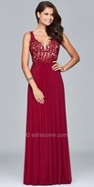 Faviana Illusion Applique A-line Prom Dress