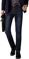 CLJJ7 Men's Pure Color Straight Leg Jean with Velvet Lining