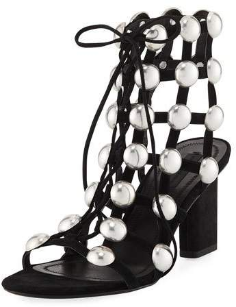 Alexander Wang Rainy Caged Studded Ankle-Tie Sandal