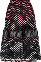 Comme des Garcons Tiered Printed Cotton And Satin Midi Skirt