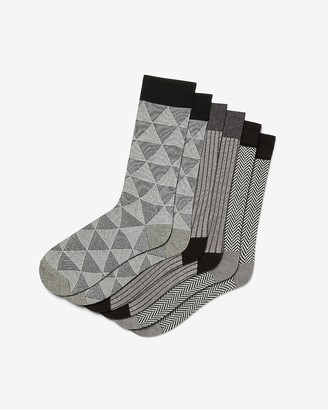 Express 3 Pack Gray Printed Dress Socks