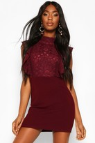boohoo Lace Ruffle Front Midi Dress