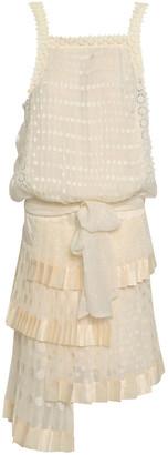 Zimmermann Asymmetric Pleated Fil Coupe Georgette Mini Dress
