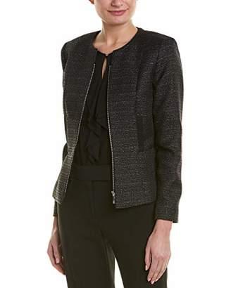 Tahari ASL Women's Collarless Full Zip Long Sleeve Jacket
