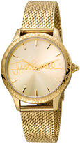 Just Cavalli 34mm Logo Stainless Steel Bracelet Watch w/ Leopard Bezel, Gold