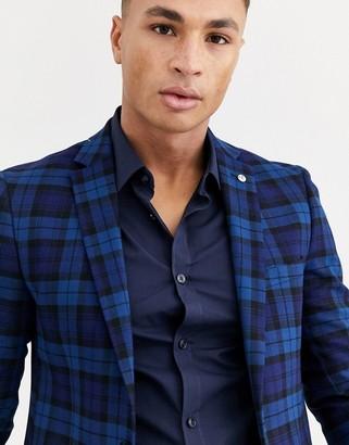 Avail London skinny suit jacket in blue tartan check