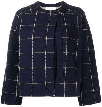 Chloé Cashmere-Wool Blend Boxy Check Jumper