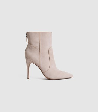 Reiss ENYA SUEDE POINT TOE HEELED ANKLE BOOTS Taupe