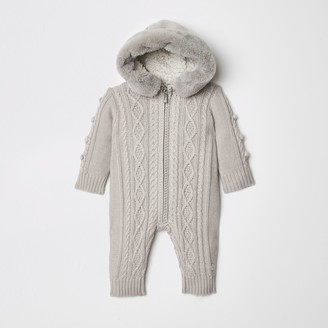 River Island Baby Grey cable knit all in one