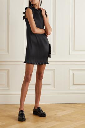 Marc Jacobs Ruffled Plisse Stretch-satin Mini Dress - Black