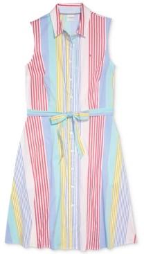 Tommy Hilfiger Adaptive Multi-Striped Button-Front Shirtdress
