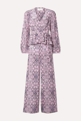 Les Rêveries Ruffled Snake-print Silk Crepe De Chine Wrap-effect Jumpsuit - Baby pink