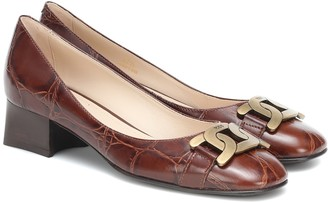Tod's Kate croc-effect leather pumps