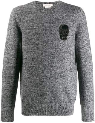 Alexander McQueen beaded skull patch knitted sweater
