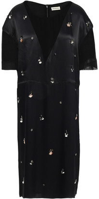 By Malene Birger Embellished Georgette-paneled Satin-crepe Dress