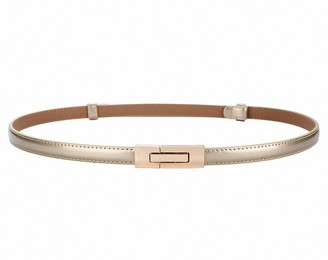 Ulalaza Women Skinny Leather Belt for Dress Adjustable Elastic Thin Cinch Waist with Alloy Buckle for Ladies Wedding Dress Decoration
